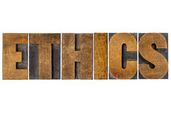 Ethics word typography in letterpress wood type Royalty Free Stock Photo