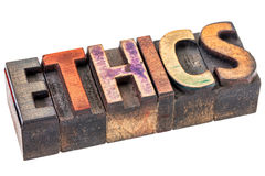 Ethics word in vintage wood type Royalty Free Stock Photo