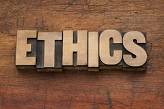 Ethics word in wood type Stock Image