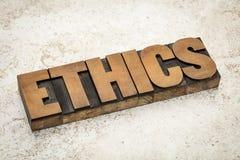 Ethics word in wood type Stock Image