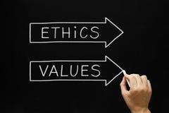 Ethiek en het Concept van Waardenpijlen stock afbeeldingen