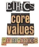 Ethiek, kernwaarden, principes Stock Foto