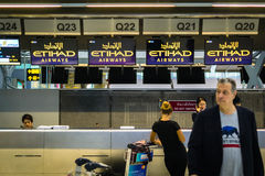 Etihad Airways check-in counter Stock Photos