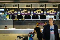 Ethihad dróg oddechowych odprawy kontuar Zdjęcia Stock