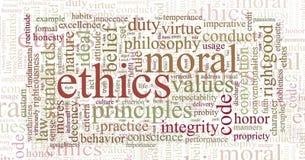 Ethik und Grundregelwortwolke Stockbilder