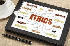 Ethiksinneskarte auf einer Tablette Stockbild