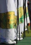 Ethiopië, Benen van Orthodoxe priesters stock foto