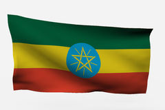 Ethiopia 3d flag. Isolated on white background Royalty Free Stock Image