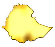 Ethiopia 3d Golden Map Royalty Free Stock Photography
