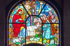 Ethiopia. Addis Ababa, Ethiopia - January 14 , 2016:  A colorfull stained glass window of the Cathedral of the Holy Trinity Stock Images