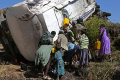 Ethiopia, Addis Abeba, January 2015, Accident of a diesel truck, EDITORIAL Stock Photo