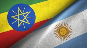 Ethiopia and Argentina two flags textile cloth, fabric texture. Ethiopia and Argentina flags together textile cloth, fabric texture stock illustration