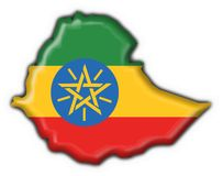 Ethiopia button flag map shape Stock Images