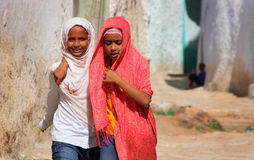 Ethiopia children. African little girls in Harar, Ethiopia royalty free stock photography