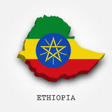 Ethiopia 3D map-flag. On white background Stock Images