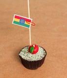 Ethiopia flag on a apple cupcake Royalty Free Stock Photo