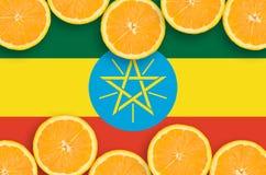 Ethiopia flag in citrus fruit slices horizontal frame royalty free stock photo
