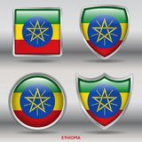 Ethiopia Flag in 4 shapes collection with clipping path stock images