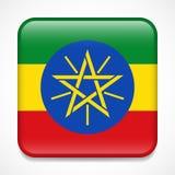 ethiopia flagga Glansigt emblem för fyrkant vektor illustrationer