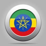 ethiopia flagga Knapp för metallgrå färgrunda royaltyfri illustrationer