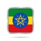 ethiopia flagga Metallisk grå färgfyrkantknapp stock illustrationer