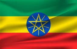 ethiopia flagga Realistisk vinkande flagga av Demokratiska förbundsrepubliken Etiopien stock illustrationer