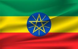 ethiopia flagga Realistisk vinkande flagga av Demokratiska förbundsrepubliken Etiopien royaltyfri illustrationer