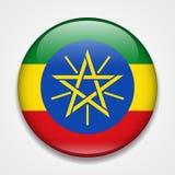 ethiopia flagga Runt glansigt emblem vektor illustrationer