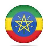 ethiopia flagga Skinande rund knapp vektor illustrationer