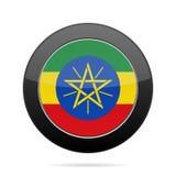 ethiopia flagga Skinande svartrundaknapp stock illustrationer