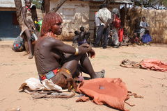 Ethiopia Hamer woman. Hamer woman with big wounds on the back Royalty Free Stock Photography