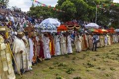 Meskel Celebration, Lalibela, Ethiopia. Ethiopia. Lalibela. The Meskel celebration, September 26th 2016. Priests in their ceremonial robes. This religious royalty free stock image