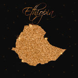 Ethiopia map filled with golden glitter. Stock Photos