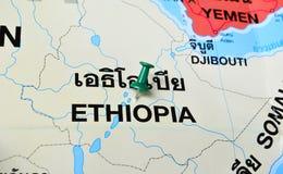 Ethiopia map. Macro shot of ethiopia map with push pin Stock Photos