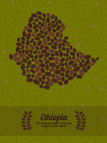 Ethiopia map made of roasted coffee beans. Vector illustration. Map of Ethiopia made out of coffee beans. Raw green coffee beans background. Coffee beans flyer Stock Illustration