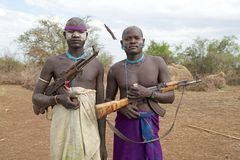Mursi men Ethiopia Stock Photography