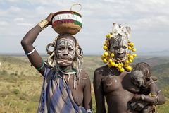 Mursi women and child, Ethiopia Royalty Free Stock Photography