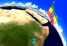 Ethiopia national flag marking the country location on world map. 3D rendering Royalty Free Stock Photos
