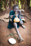Ethiopia, 9 / November / 2015, Surma tribe: Surma woman with traditional pipe Royalty Free Stock Photography