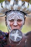 ethiopia Omo dal 18 09 2013 Mursi stam Royaltyfria Bilder