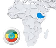 Free Ethiopia On Africa Map Royalty Free Stock Images - 119559659