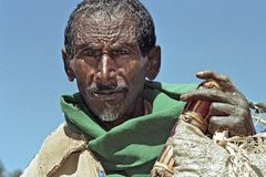 Portrait of old Ethiopian with weathered face stock image