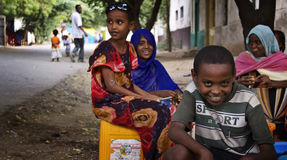Ethiopia: People by the street. People were spending their time by the street and children naturally wanted to pose for the camera. In Ethiopia people live in Royalty Free Stock Photography
