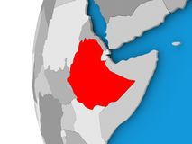 Map of Ethiopia on political globe. Ethiopia in red on political globe. 3D illustration Stock Photography