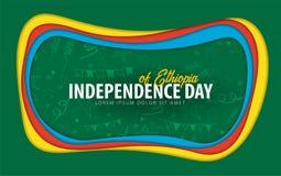 ethiopia Självständighetsdagenhälsningkort papperssnittstil royaltyfri illustrationer