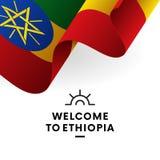 ethiopia som ska välkomnas Etiopien flagga Patriotisk design också vektor för coreldrawillustration royaltyfri illustrationer