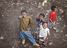 Ethiopia: Thumbs up. Children on the streets of Gondar, Ethiopia Royalty Free Stock Photos