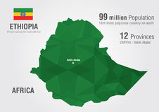 Ethiopia world map with a pixel diamond texture. Stock Photo