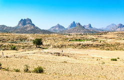 Ethiopia. Yeha, the Adua mountains seen from the Temple of the Moon area Royalty Free Stock Image