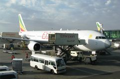 Ethiopian Airlines aircraft. Ethiopian  Airlines aircraft at Addis Ababa Bole International Airport, Ethiopia Royalty Free Stock Photo